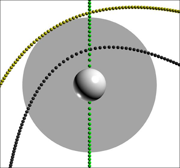 Разные варианты траектории движения ПЧД, просчитанные астрофизиками. Серый круг обозначает Солнце. Как и следовало ожидать, чёрная дыра, едва касающаяся «поверхности» Солнца (этот случай обозначен жёлтым), не возбуждает заметных осцилляций, тогда как дыры, проникающие в глубь звезды, могут давать чёткий сигнал. (Иллюстрация из журнала Physical Review Letters.)