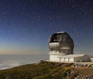 Большой Канарский телескоп (GTC) расположен на испанской территории Канарских островов. Диаметр его главного зеркала – 10.4 м.