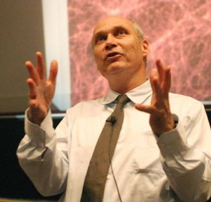Famed particle cosmologist and University of Chicago Professor Michael Turner explained the dark mysteries of the universe at a U-M Physics Department public lecture May 17