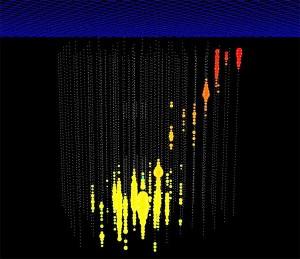 Прохождение мюона в детекторе IceCube, зарегистрированное массивом фотоэлектронных умножителей (иллюстрация IceCube Collaboration).