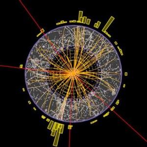 Событие, показывающее четыре мюона (красные следы) от протон-протонного взаимодействия в эксперименте ATLAS на Большом адронном коллайдере. В этом случае речь идет о распаде каждого из двух Z-бозонов на два мюона. Согласно Стандартной модели, такие события возможны без частиц Хиггса, но, в то же время, могут указывать на их существование. Чтобы сделать однозначные выводы, необходимо проанализировать огромное количество подобных событий