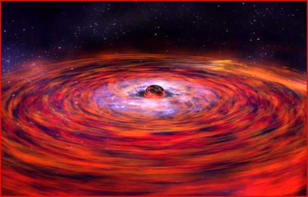 Сильное гравитационное поле нейтронных звёзд удерживает вокруг них газопылевые диски и даже планеты, но не может притянуть достаточно тёмной материи, хотя её должно быть вшестеро больше обычной. Почему? (Илл. NASA's Rossi X-ray Timing Explorer.)