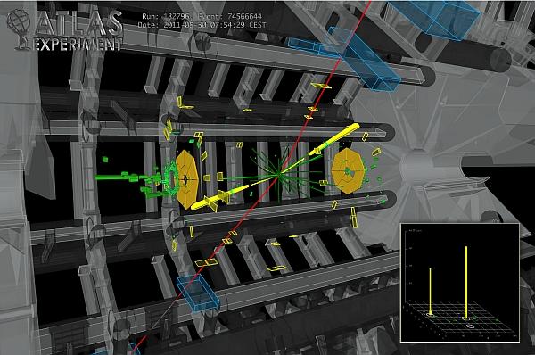 хема эксперимента ATLAS на Большом адронном коллайдере, который намекнул на бозон Хиггса (изображение Weizmann Institute).