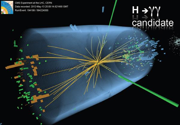 Рис. 1. Одно из событий рождения хиггсовского бозона и его распада на два фотона, зарегистрированных детектором CMS. Изображение из доклада 4 июля