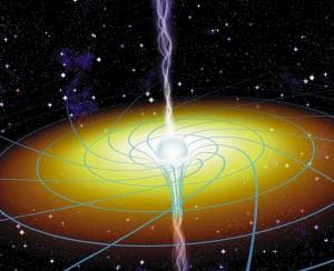 Условное изображение черной дыры и пространства вокруг. Изображение с сайта science.nasa.gov