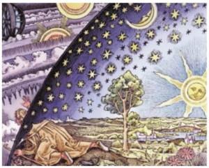 Гравюра Фламмариона. Эта знаменитая гравюра по дереву XIX в. (изначально черно-белая) заключает в себе философский вопрос: ограничено ли наше знание или мы всегда можем пробить своей головой путь в непознанное?