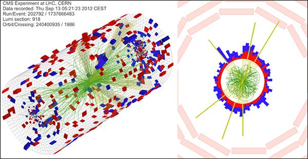Пример протон-ядерного столкновения, которое было зарегистрировано CMS и привело к образованию большого числа заряженных частиц (иллюстрация CMS Collaboration).