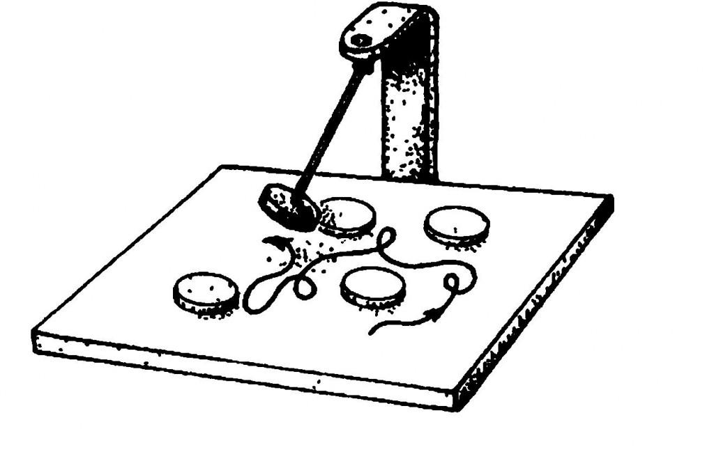 Рис. 1. Хаотическое движение. Механическая игрушка состоит из магнитного маятника, который качается над набором фиксированных магнитов. Траектория, описываемая маятником, весьма чувствительным образом зависит от его начального положения и скорости.