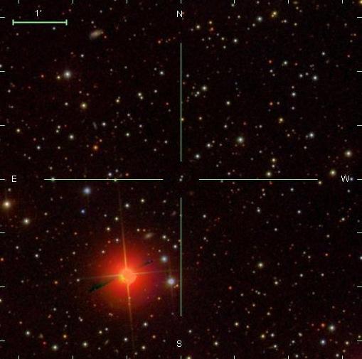 Фотография сверхскоростной звезды, найденной среди снимков Sloan Digital Sky Survey