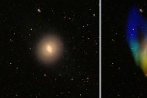 Галактика NGC 4262. Но здесь полярное кольцо практически не заметно на оптических снимках, так как состоит в основном только из газа. Показано поле скоростей нейтрального водорода по данным наблюдений Oosterloo et al. (2010) в линии 21 см.