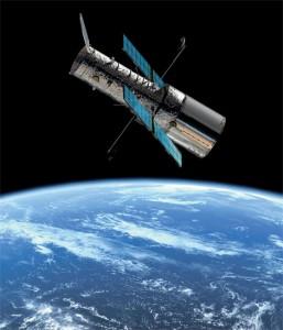 Космический телескоп «Хаббл» (HST), орбитальный телескоп NASA (США), в полете. Наблюдения, о которых рассказывается в статье, проводились на этом телескопе на протяжении 200 его орбитальных периодов