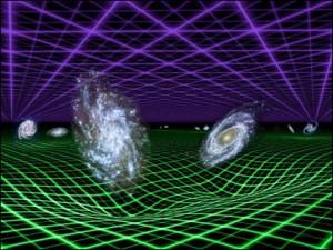 На межгалактических расстояниях темная энергия (фиолетовая сетка) доминирует над гравитацией (зеленая сетка)
