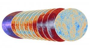 Разные карты Вселенной, полученные спутником Planck