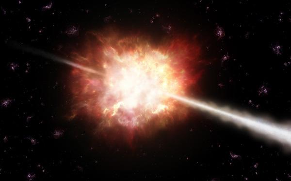 Гамма-луч, порожденный взрывом какого-то древнего объекта. ESO/A. Roquette