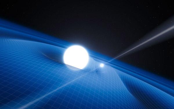 При движении белого карлика вокруг крошечной нейтронной звезды возникают волны искажения пространства-времени, убегающие прочь. А сама нейтронная звезда работает радиопульсаром, что и позволило заметить этот интересный объект. ESO/L. Calçada