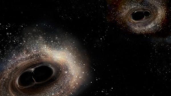 Рис. 1. Художественное изображение того, как могли бы выглядеть события слияния черных дыр GW150914 (нижний левый угол) и GW151226 (верхний правый угол) в момент максимального гравитационно-волнового излучения. Рисунок с сайта ligo.caltech.edu