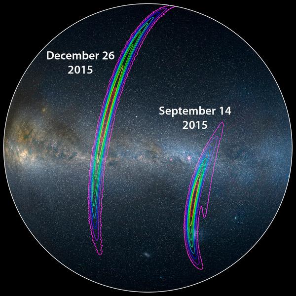 Рис. 7. Области южного неба, в которых, по измерениям LIGO, находились источники событий GW150914 и GW151226. Изображение с сайта ligo.caltech.edu