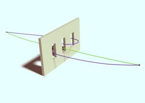 Пример «неклассической» траектории (фиолетового цвета) в эксперименте с тремя щелями R. Sawant et al., / PRL