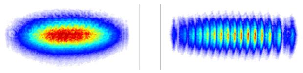 Сравнение картины, получаемой на экране в случае, когда открыта только одна щель (слева) и когда открыты все три щели (справа) O. S. Magaña-Loaiza et al., Nat. Commun