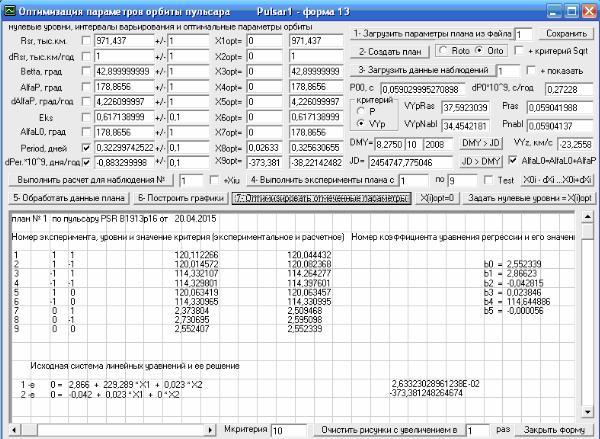 Рис. 11. Оптимизация по данным наблюдений за пульсаром B1913+16 его параметров орбиты. Скриншот программы Pulsar1.