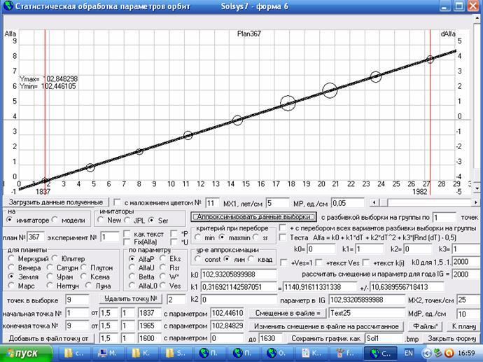Рис.24. Скриншот формы 6 программы Solsys7. Статистическая обработка средних в группах параметров орбиты Земли, полученных для этих 9-и групп по наблюдательным данным.