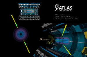 Рождение двух фотонов умеренно большой энергии в детекторе ATLAS без сопровождения других частиц. Рисунок с сайта cerncourier.com
