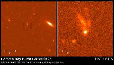 """Рис.4  Послесвечение знаменитого всплеска """"0123"""". Слева — общий вид, справа — крупный план). Оно на 5 - 6 порядков величины слабее прямого оптического свечения, наблюдавшегося в момент всплеска и все-еще затмевает хозяйскую галактику (два слабых светящихся рукава, направленных вверх от остатка всплеска)."""