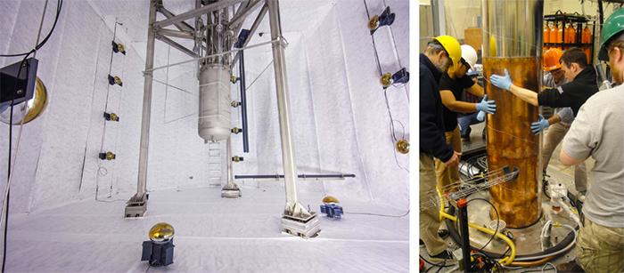 Установки экспериментов LUX (слева) и ADMX (справа)