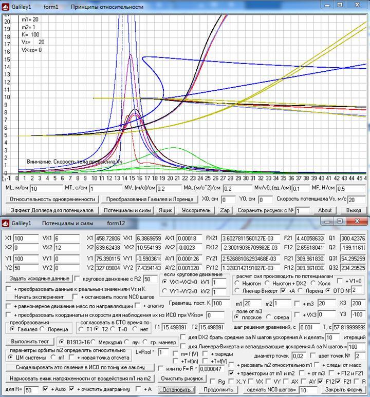 Рис. 26. Траектории свободного движение двух масс в АСО (исходная ИСО) при разных теориях взаимодействия (для ОТО в двух вариантах) между массами и графики изменения при этом со временем сил притяжения между массами. Скриншот программыGaliley1.